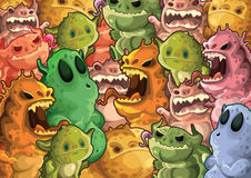 Cute monsters pattern background Stock Photos