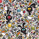 Cute monsters rabbit seamless pattern. Royalty Free Stock Photos