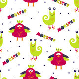 Cute monsters seamless pattern. Colorful vector background Stock Images