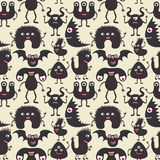 Cute monsters seamless pattern. Stock Photography