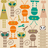Cute monsters seamless pattern and seamless pattern in swatch me Royalty Free Stock Images