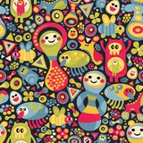 Cute monsters seamless pattern. Royalty Free Stock Image