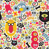 Cute monsters seamless pattern. Royalty Free Stock Photos