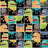 Cute monsters seamless texture with windows. Royalty Free Stock Image
