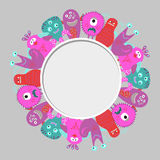 Cute monsters set as a circle frame. Royalty Free Stock Photography