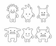 Cute Monsters Set. thin line style. Isolated on white background Royalty Free Stock Photo
