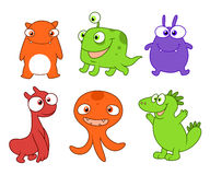 Cute monsters set three Royalty Free Stock Images