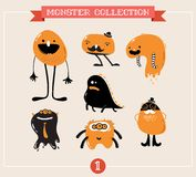 Cute monsters, set of vector illustrations. Cute monsters, creatures, freaks, doodles Royalty Free Stock Photography