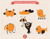 Cute monsters, set of vector illustrations. Cute monsters, creatures, freaks, doodles Stock Images