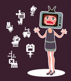 Cute monsters and shouting girl. Cute monsters and shouting girl with TV head. Vector illustration Royalty Free Stock Images