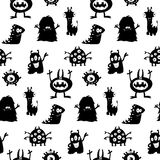 Cute monsters silhouettes pattern Stock Images