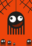 Cute monsters, spiders on web, halloween card, vector Royalty Free Stock Photography