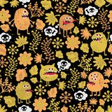 Cute monsters texture with yellow leaves. Royalty Free Stock Photos