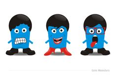 3 cute monsters. Vector of 3 blue cutes monsters ever Royalty Free Stock Photography