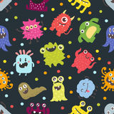 Cute monsters vector seamless pattern Royalty Free Stock Photos