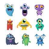 Cute monsters vector set in cartoon style Stock Photography
