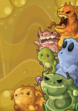 Cute monsters vertical background Stock Images