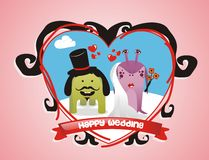 Cute monsters wedding couple Royalty Free Stock Photography
