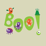 Cute monsters with the word boo Stock Photo