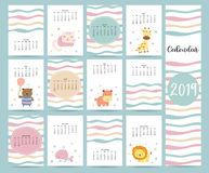 Cute monthly calendar 2019 with bear,cat,giraffe,hippopotamus,lion,whale and balloon.Can be used for web,banner,poster,label and. Printable royalty free illustration