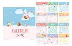 Cute monthly calendar 2019 with bear,girl,rabbit,monkey,sheep,star,cloud,moon and balloon.Can be used for. Web,banner,poster,label and printable stock illustration