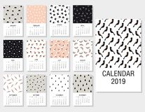 Cute monthly calendar 2019. Printable templates with simple doodle hand drawn textures. Vector illustration. Cartoon style. Modern creative vector illustration