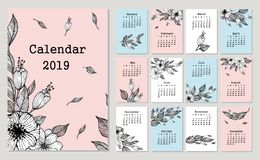 Cute monthly calendar 2019 with flowers and leaf. Hand drawn vector illustration royalty free illustration