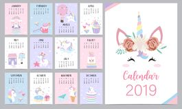 Cute monthly calendar 2019 with head unicorn,diamond,heart,balloon,rainbow,cupcake,house and wreath for children.Can be used for. Web,banner,poster,label and royalty free illustration