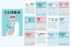 Cute monthly calendar 2019 with llama,luggage,cactus,geometrical,glasses,heart for children.Can be used for. Web,banner,poster,label and printable stock illustration