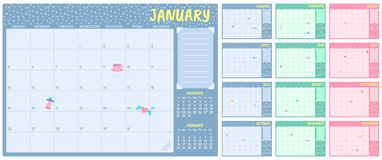 Free Cute Monthly Planner Template. Kids Calendar, Simple Year Months Planners And Month Days Notes Pages Vector Set Royalty Free Stock Image - 164125786
