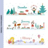 Cute Monthly Seasonally Vector Backgrounds Banners Royalty Free Stock Photo