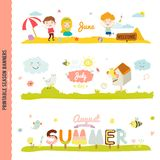 Cute Monthly Seasonally Vector Backgrounds Banners Royalty Free Stock Images
