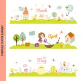 Cute Monthly Seasonally Vector Backgrounds Banners Royalty Free Stock Image