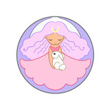 Cute moon princess girl holding a rabbit. Cute little moon princess girl holding a rabbit. Round colored illustration  on white background Stock Photo