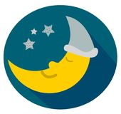 Cute moon with sleepyhead sleeps well. Cute drawn sleeping and snoring moon wearing a sleepyhead and sleeping well. Simple and clean design of a cartoon Royalty Free Stock Photos
