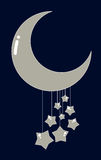 Cute moon & stars. Moon and stars illustration. Has a simple yet cute look. Can be used for baby or nursery designs. Also in vector EPS8 format Stock Image
