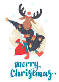 Cute moose carry decorated Christmas tree Royalty Free Stock Image