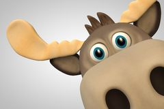 Cute moose cartoon animal zoo forest. 3d illustration Stock Photo