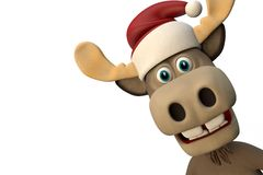 Cute moose with christmas hat cartoon animal zoo forest Stock Images
