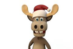 Cute moose with christmas hat cartoon animal zoo forest Royalty Free Stock Photos