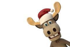Cute moose with christmas hat cartoon animal zoo forest. 3d illustration Stock Photography