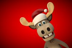 Cute moose with christmas hat cartoon animal zoo forest Royalty Free Stock Image