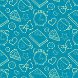 Cute morning vector seamless pattern with cake, heart, cup. Breakfast, lunch background. Royalty Free Stock Photography
