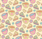 Cute morning vector seamless pattern with cake, heart, cup. Breakfast, lunch background. Stock Photo