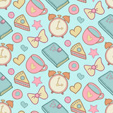 Cute morning vector seamless pattern with cake, heart, cup, notebook and alarm clock. Home elements background. Stock Photography