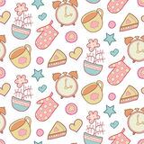 Cute morning vector seamless pattern with star, flower, potholder, pie, cup etc. Kitchen background. Sweet home elements Royalty Free Stock Image