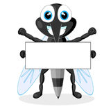 Cute mosquito with blank sign Royalty Free Stock Photo