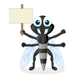 Cute mosquito with wood sign Royalty Free Stock Image