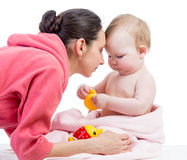 Cute mother and baby after bathing Stock Photography