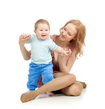 Cute mother and baby boy having fun Stock Images
